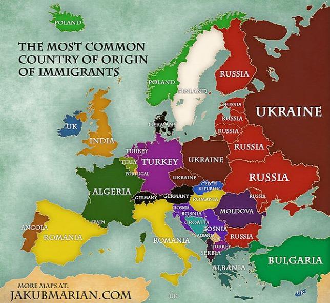 Карта мигрантов по странам Европы